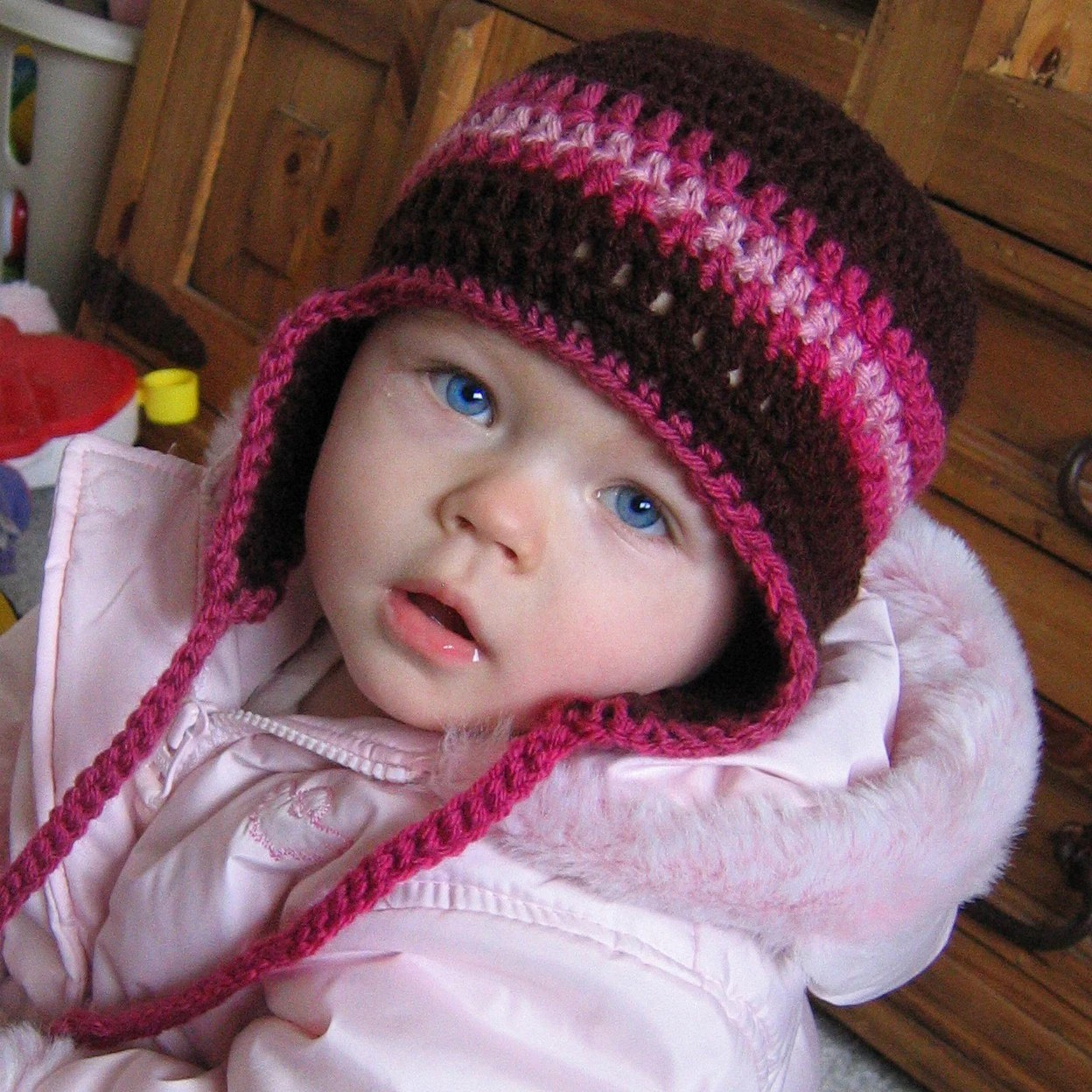 6-12 month size Crocheted Earflap Beanie