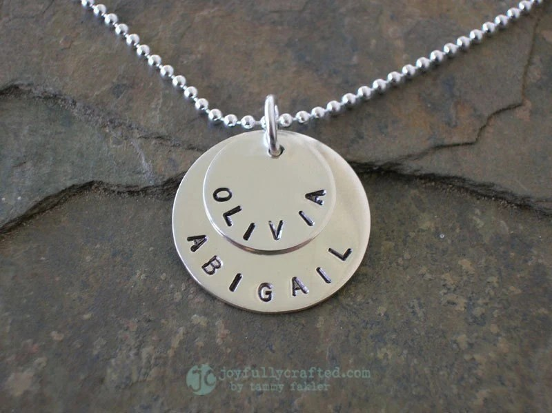 TWO Charms in One Custom Hand Stamped Sterling Name Necklace