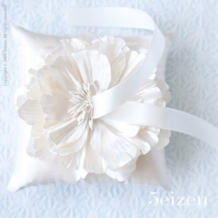 Elle Bloom Series - Creamy Ivory Dupioni Silk Ring Pillow
