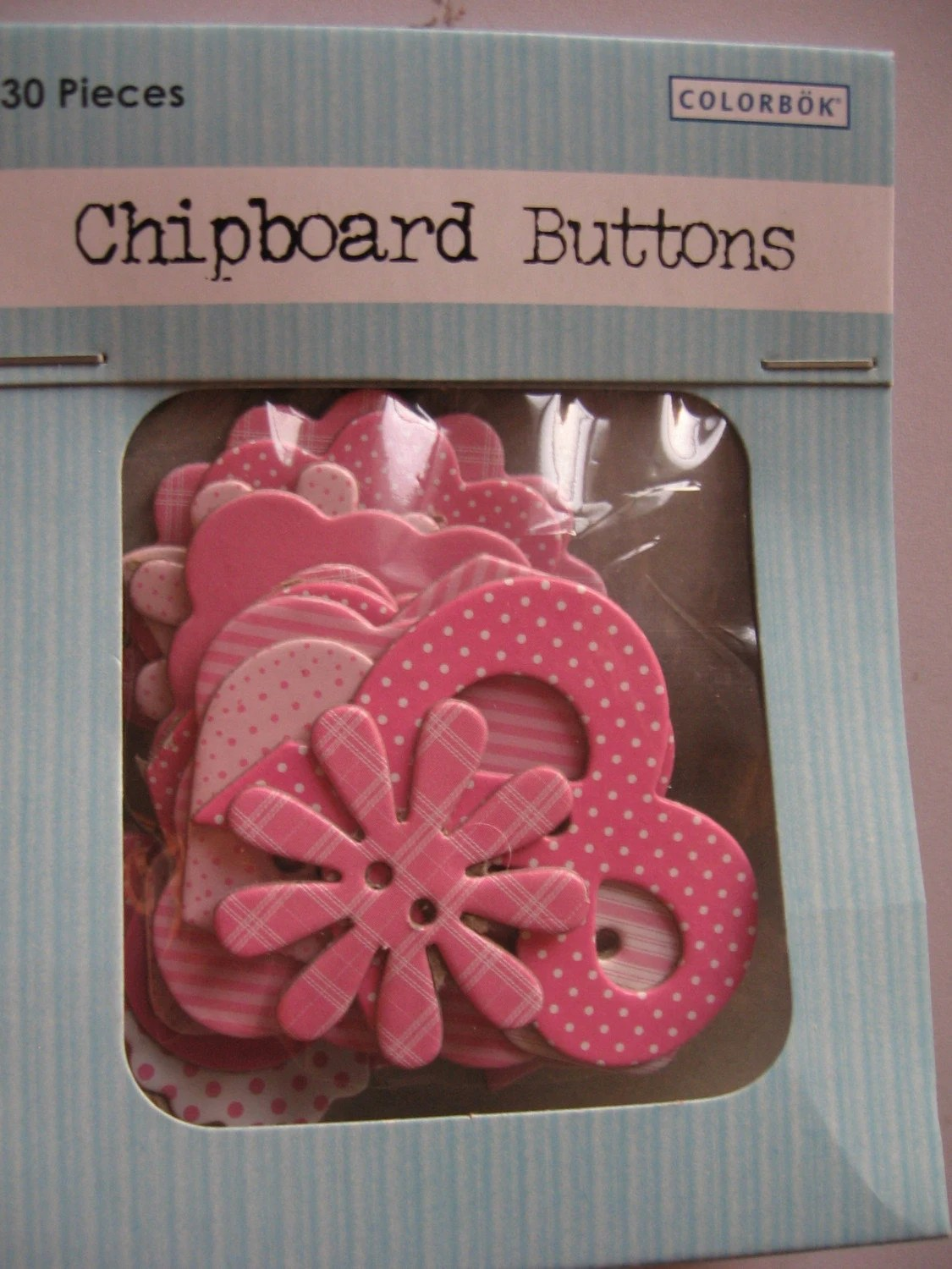 Pink Chipboard Buttons - Set of 30