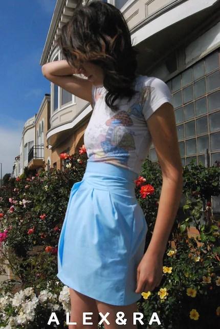 Light Blue Geometric Mini Skirt