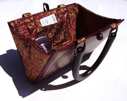 Jane Austen Pride and Prejudice Book Handbag- Maroon and Gold