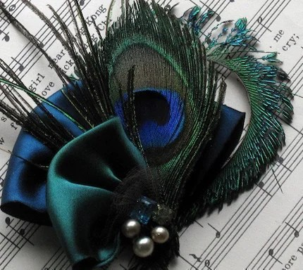 Baroqueandrolls Peacock Feather and Vintage Jewel Hair Clip $28