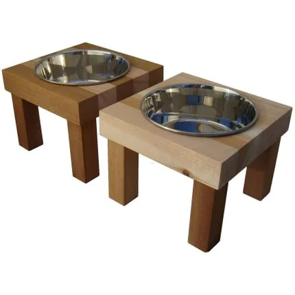 Elevated Dog Feeder Pair, Wood Butcher Block and Stainless
