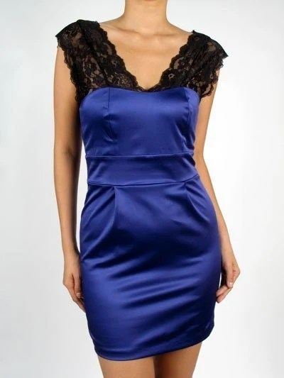 Satin Royal Blue and Black Lace Party Dress - The Sabrina
