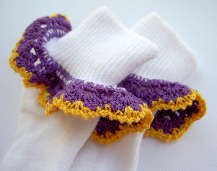 1. Purple and Gold ruffle socks