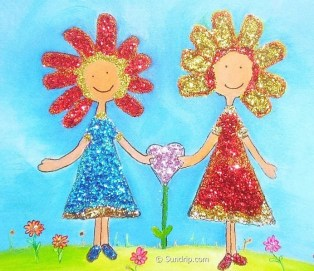 Best Friends Glitter Glue Art Flower Girls Original