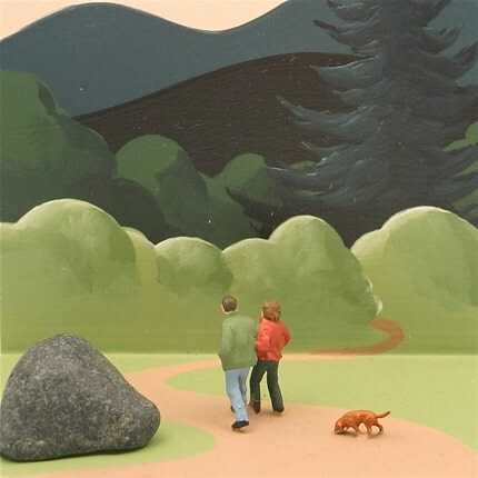 Couple walks with Dog in the forest, hand painted clock by Pascale Judet