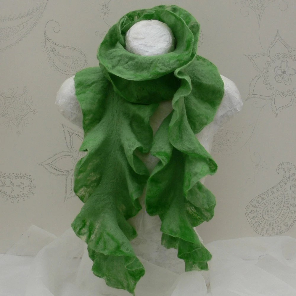 im in loooooove with these ruffly felted scarves, $70 from seller azul.