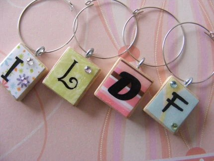 RESERVED FOR tierranastoupil Scrabble Wine Glass Initial Charms