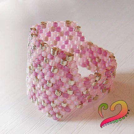 Strawberry Sprinkles - Pink and Silver Delica Peyote Beaded Ring