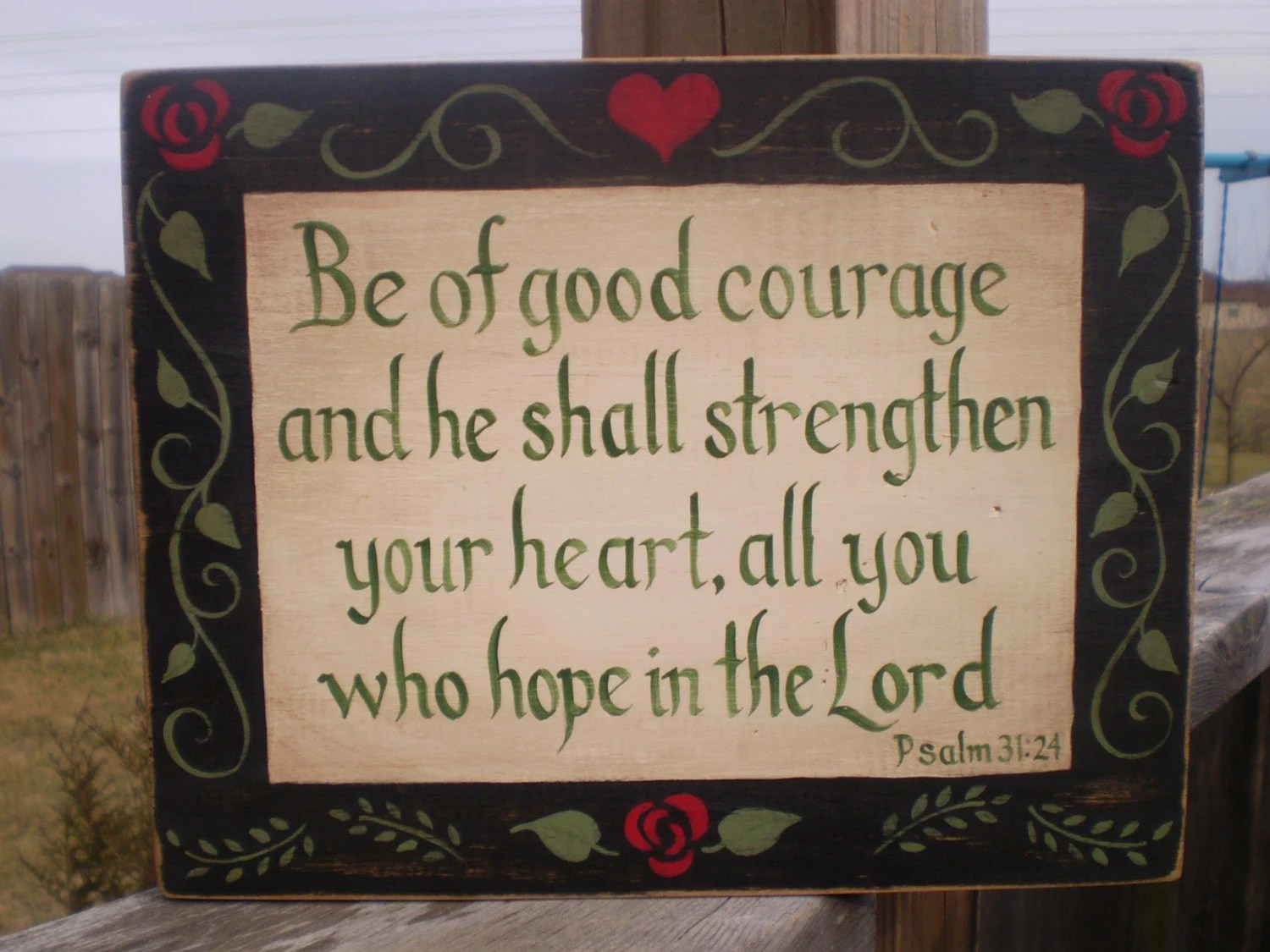 Heart and Flowers Framed Bible Verse Board Psalm 31/24
