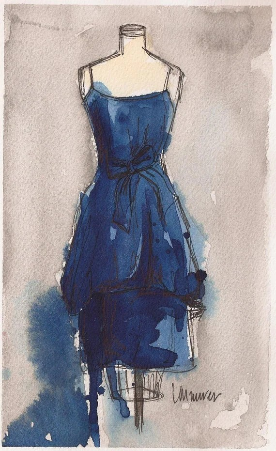 Original -  Watercolor and Ink Painting - Vintage Blue Dress II - 8x5