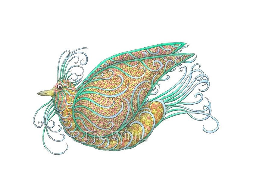Exotic Bird III in emerald green and orange, archival print, 5 x 7