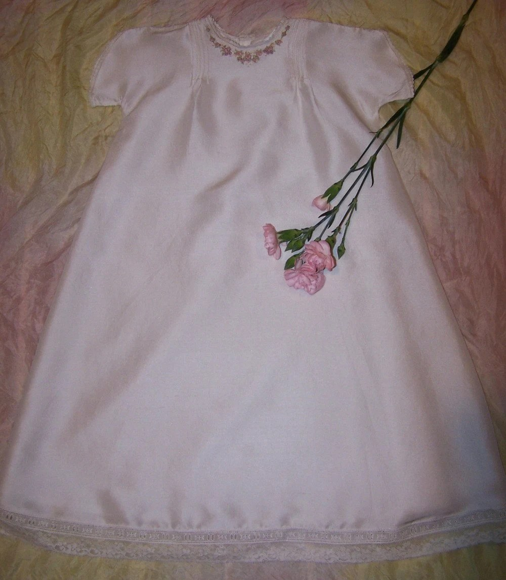 White Silk Dupion Christening Gown with Hand Embroidery and slip