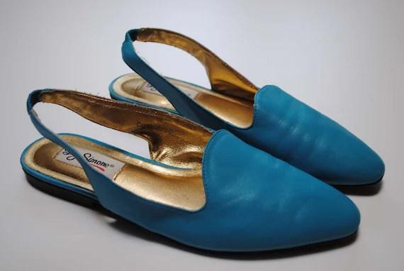 80s Turquoise Slingbacks