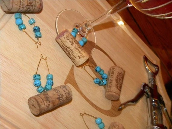 Wine Cork Wine Charms -Set of Six