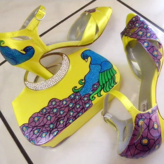 Shoes Bridal and matching Clutch CHARTREUSE Set Painted purple peacock