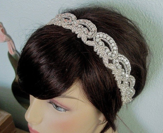 Francesca vintage glamour crystal rhinestone and silk headpiece or sash-custom made to order