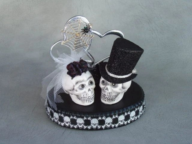 SKULL Bride and Groom ETERNAL LOVE Wedding Cake Topper