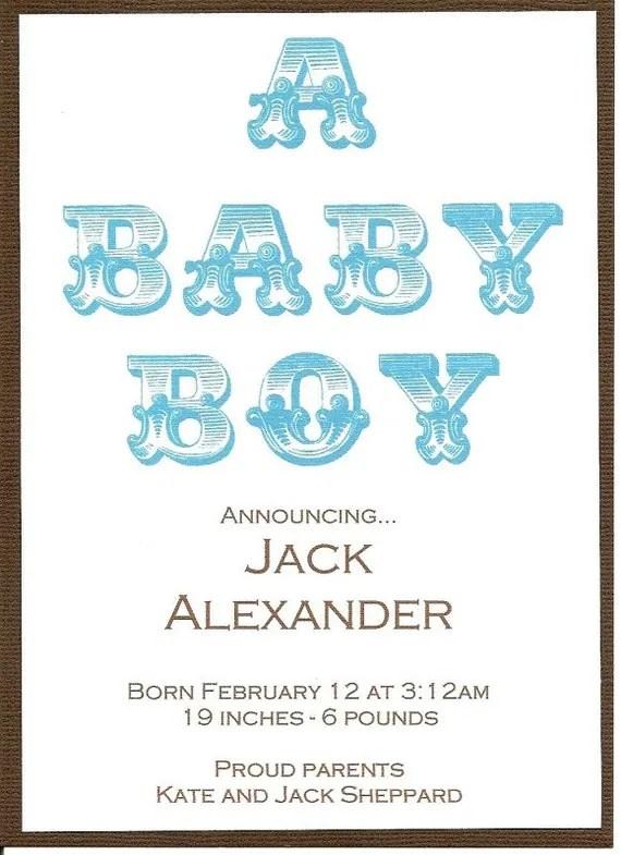 A Baby Boy Birth Announcement