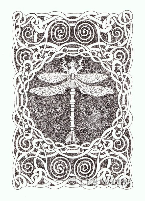 Sepia Dragonfly with Border, OSWOA, mini 4 x 6 original ink drawing