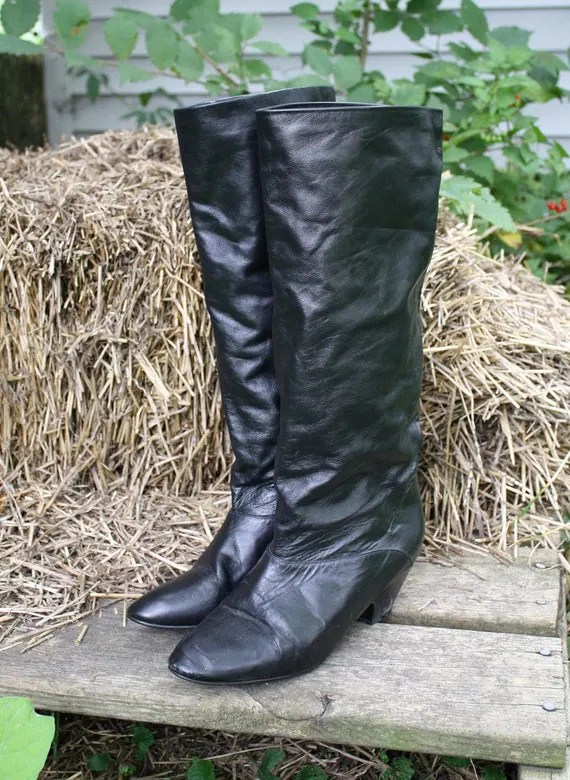 SALE Vintage Tall Black Slouch Boots