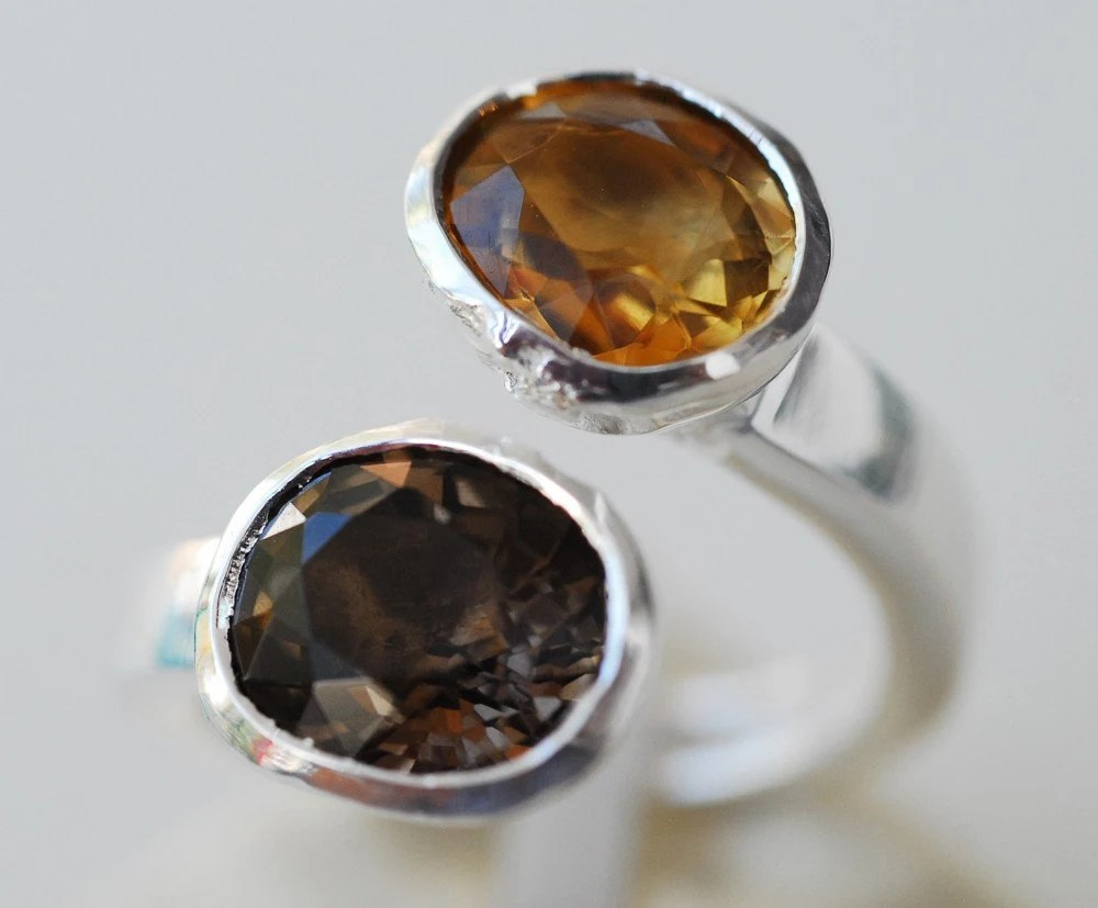 HONEY YELLOW CITRINE DARK BROWN SMOKY QUARTZ SILVER RING