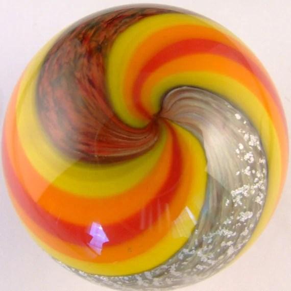 Handblown Cosmic swirl paperweight Retro modern hipness marblehead glassworks