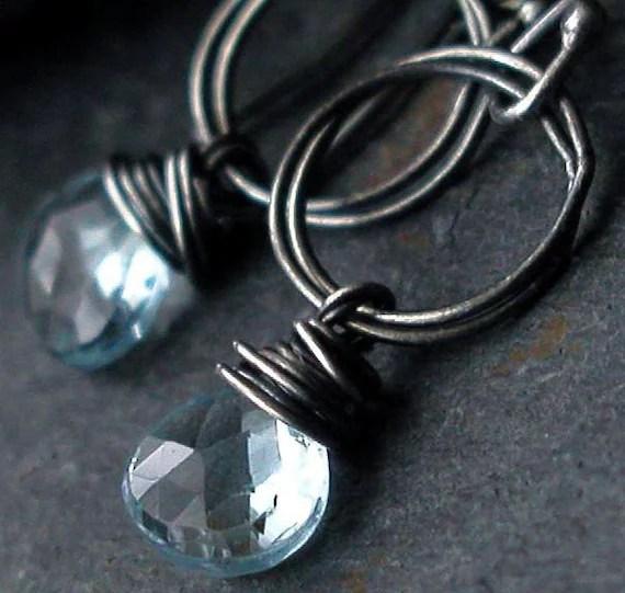 Swiss Blue Topaz Sterling Silver Dangle Earrings - Arctic