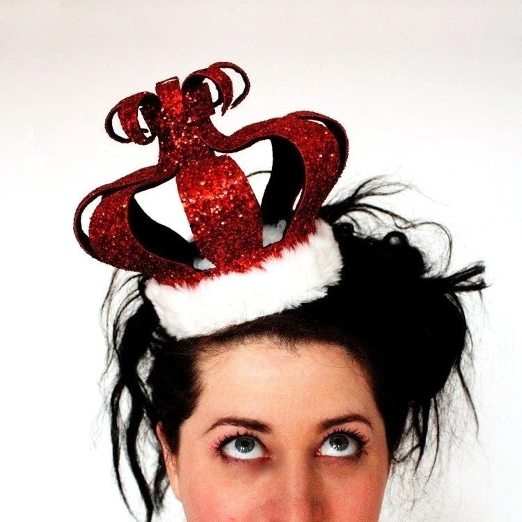 Burlesque Queen of Hearts crown in gorgeous ruby red glitter