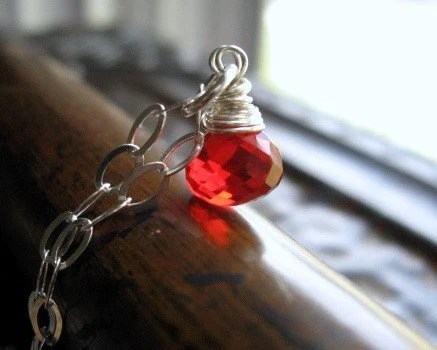 Cherry Bombshell- Petite Cherry Red Quartz wrapped in Sterling Silver
