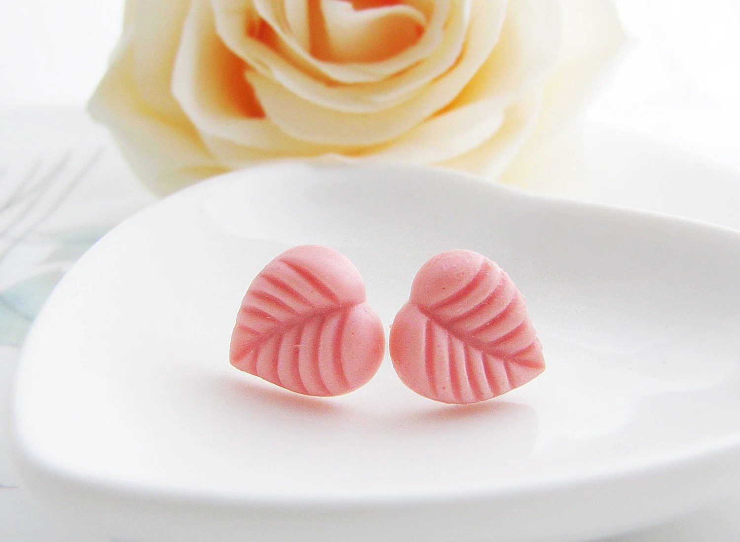 Coral Pink Leaves Ear Studs
