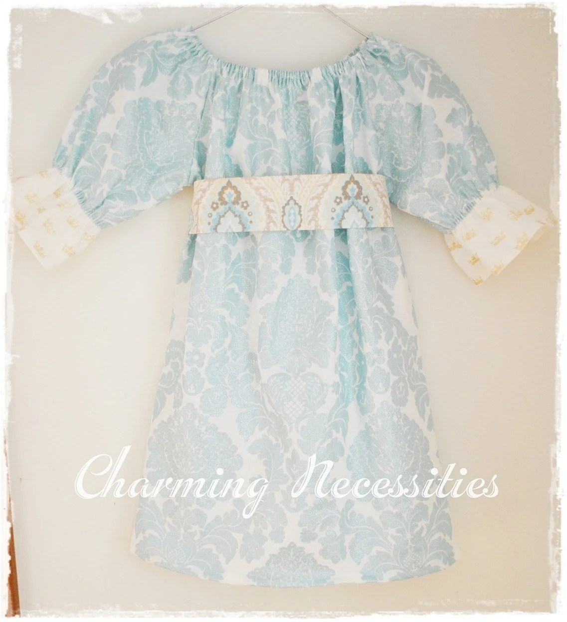 Holiday 2010 Fit For A Princess Turquoise Peasant Sash Dress 0-3mo 3-6mo 9-12mo 18Mo also available in 2T 3T 4T 5 6 7 8 Portrait Outift