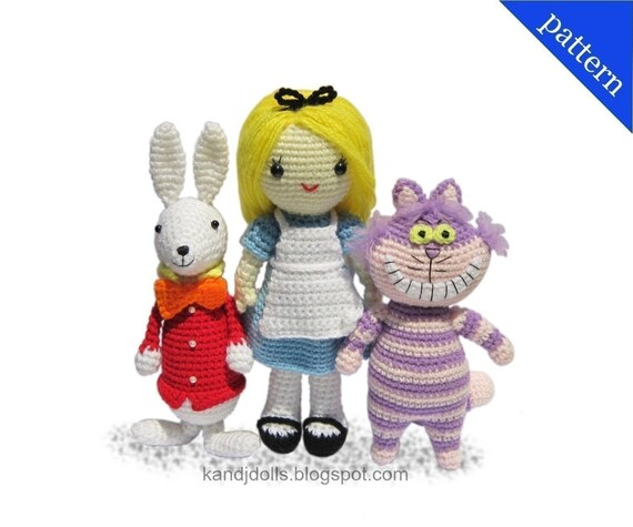 Alice in Wonderland, White Rabbit and Cheshire Cat - PDF Amigurumi crochet patterns