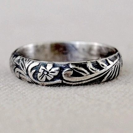 Art Nouveau Floral Ring Band - Sterling Silver - Size 6 or 6.75 Ready to Ship or Your Size
