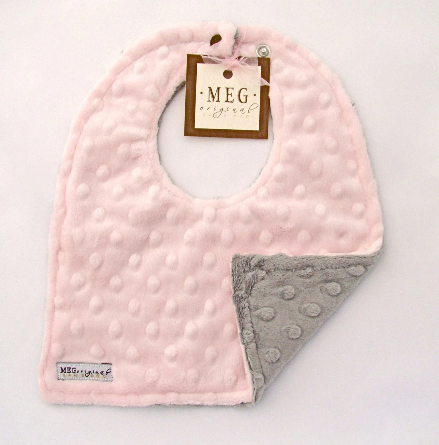 Pink and Gray Minky Dot Baby Girl Bib