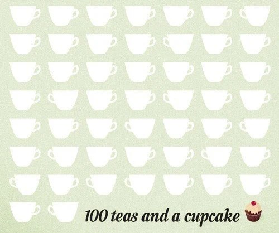 100 teas and a cupcake Print 8 x 11.5