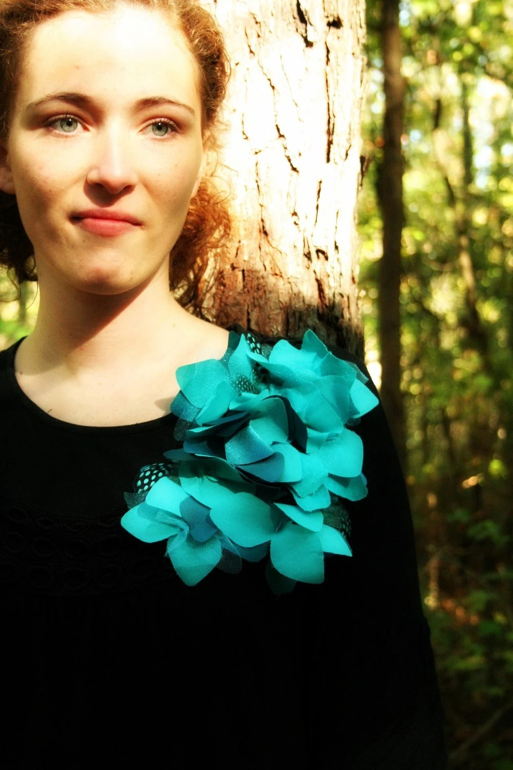 Turquoise Flower and Feather Cascading Pin by Polka Dot Bungalow
