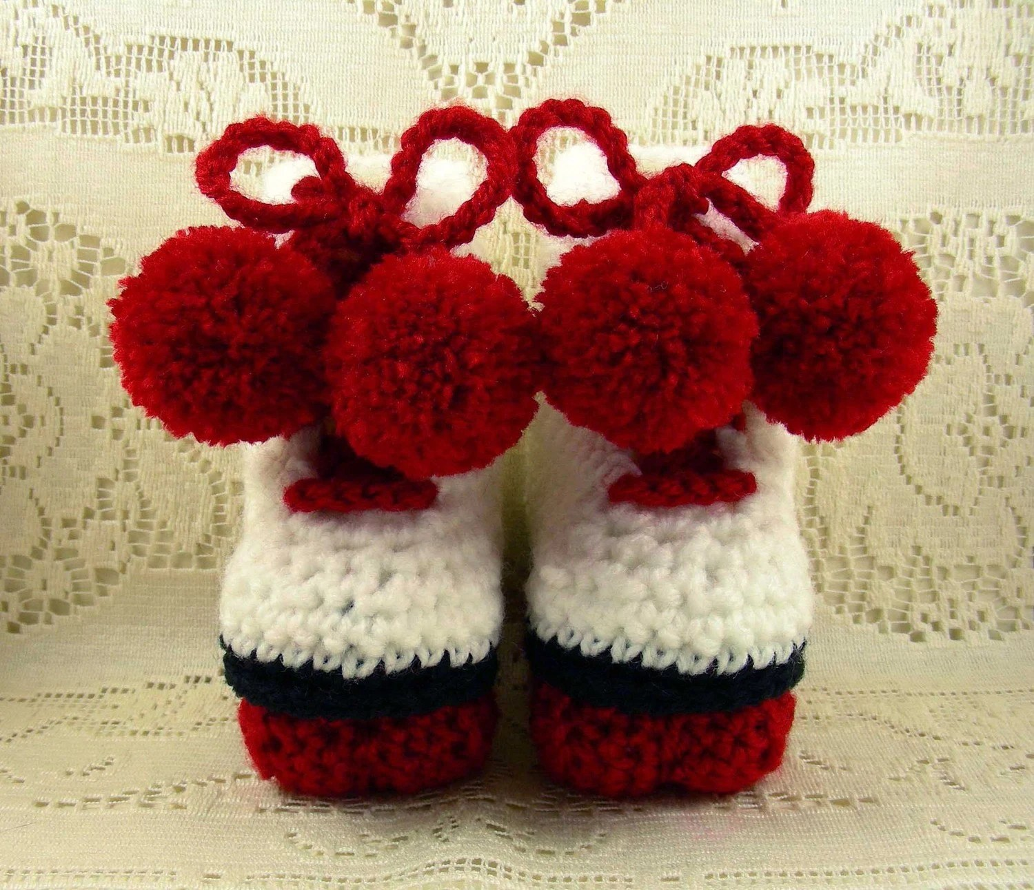 Roller Skates Baby Booties (Red)