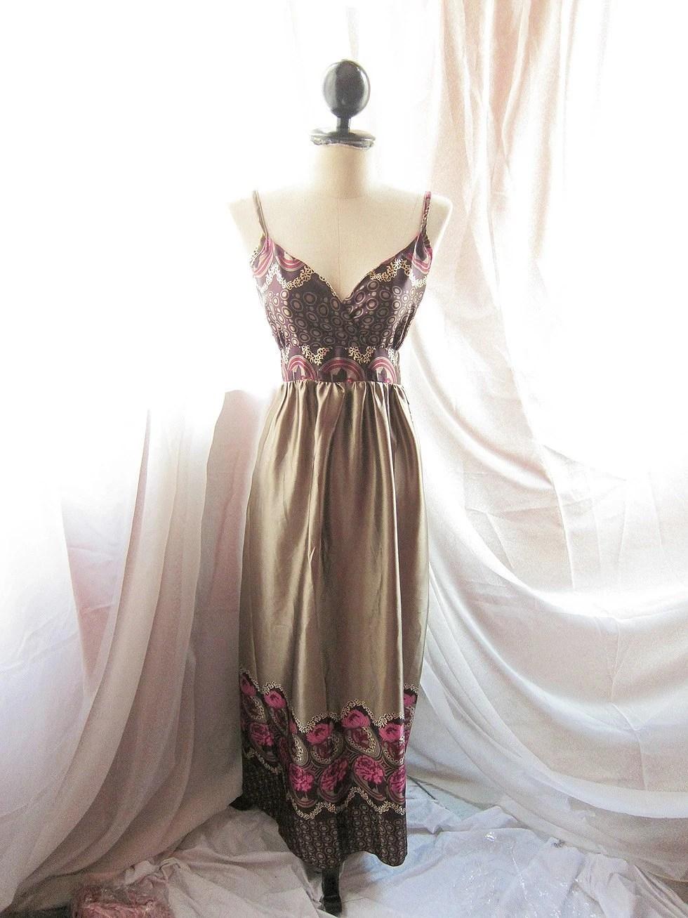 Seville Romance Venus Goddess Plum Peony Garland Motif Hippie Bohemian Dusty Olive Grayish Gold  Maxi Satin Dress Gown