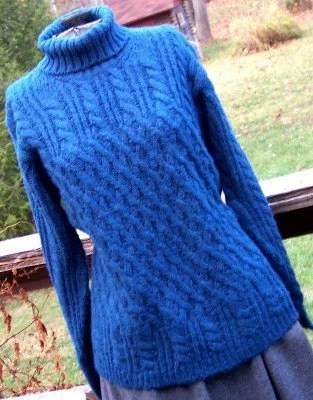 Blue Cabled Knit Sweater