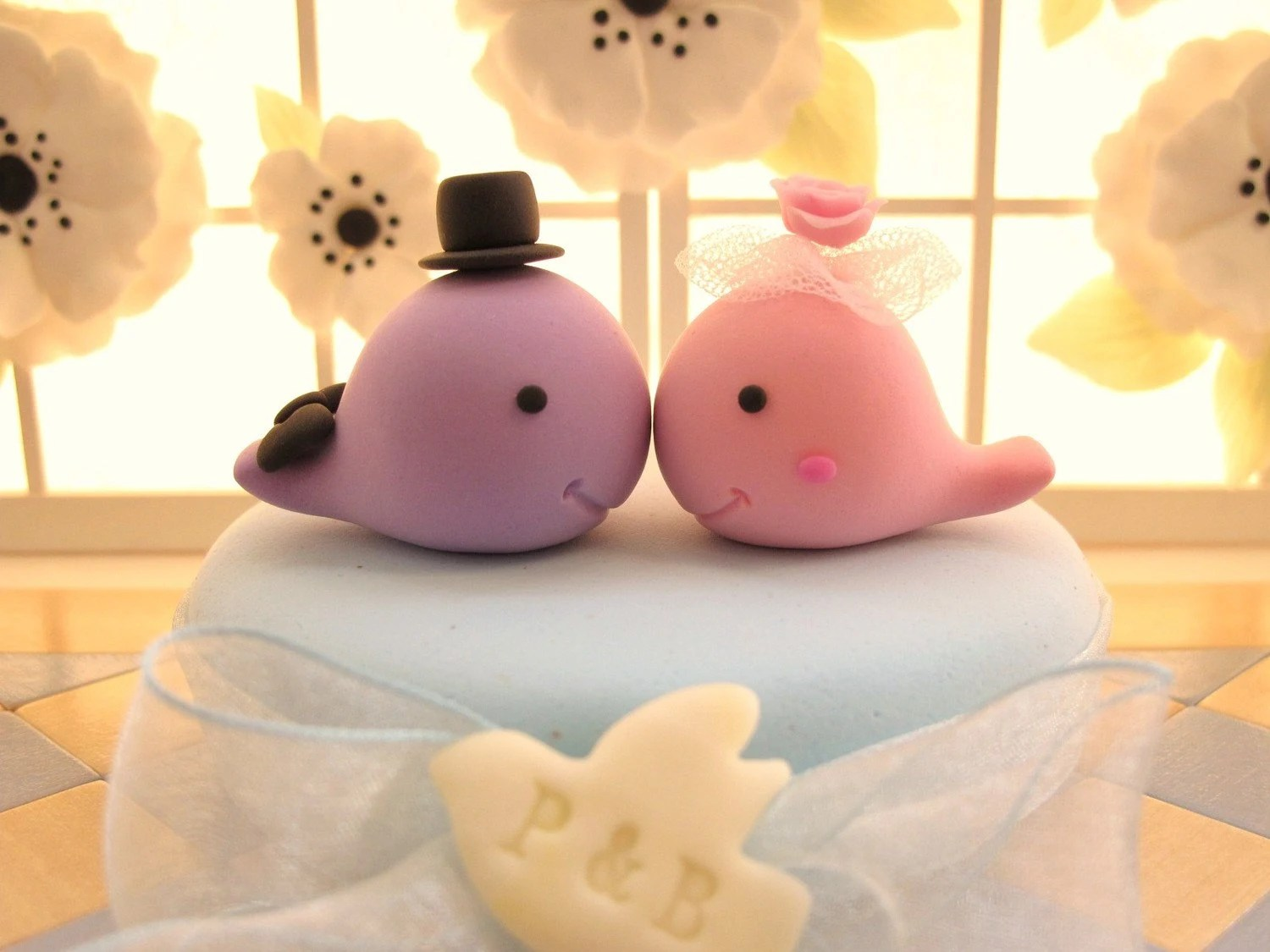 PROMOTION-------LOVE ANGELS Wedding Cake Topper-love Whales