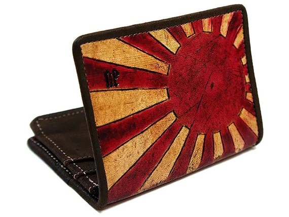 Hand Dyed Leather Wallet - The Rising Sun