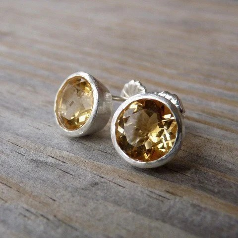 Huge Golden Citrine Gemstone Post Earrings, Bezel Set in Recycled Sterling Silver