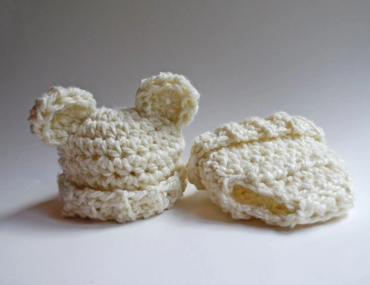 The Whipped Cream Collection - Newborn Bear Hat and Diaper Cover Set - Photography Prop