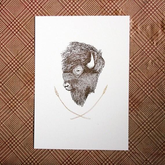 Bison gocco print