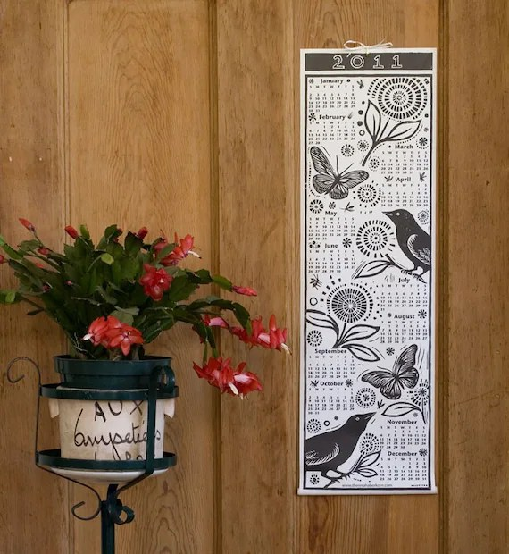 2011 Bird and Butterfly Woodcut Scroll Calendar