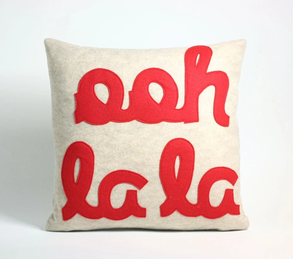 Ooh la la 16x16inch pillow recycled felt applique pillow - oatmeal and red