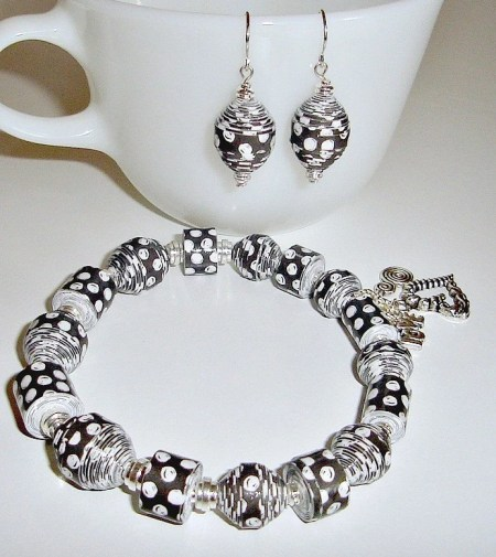 Black and White Paper Bead Bracelet and Earrings Set - custom sizing, shipping included